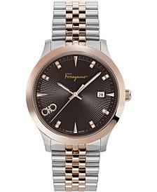 Men's Swiss Duo Diamond (1/20 ct. t.w.) Two-Tone Stainless Steel Bracelet Watch 40mm