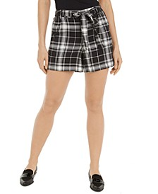 Plaid Tie-Belt Shorts, Created for Macy's