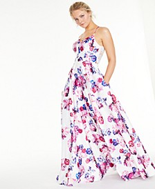 Juniors' Floral-Print Lace-Back Gown, Created for Macy's
