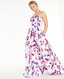 City Studios Juniors' Floral-Print Lace-Back Gown, Created For Macy's