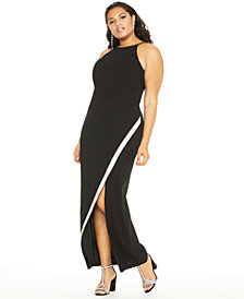 BCX Trendy Plus Size Rhinestone Bias Slit Gown