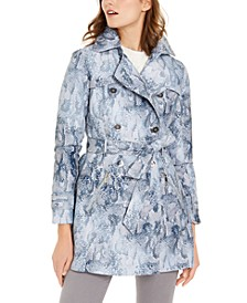 Snake-Embossed Double-Breasted Water-Resistant Trench Coat