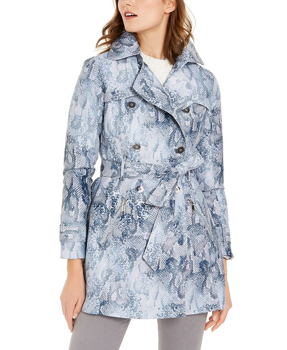 GUESS Snake-Embossed Double-Breasted Water-Resistant Trench Coat