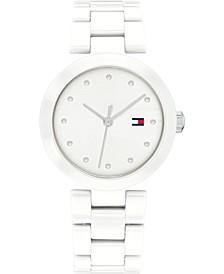 Women's White Ceramic Bracelet Watch 32mm, Created for Macy's