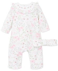 Baby Girls 2-Pc. Cotton Headband & Floral-Print Coverall Set