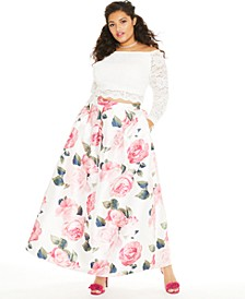 Trendy Plus Size 2-Pc. Off-The-Shoulder Lace & Floral Gown, Created For Macy's