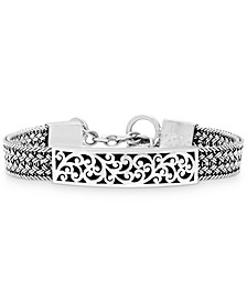 Carved Filigree Bar Woven Bracelet in Sterling Silver