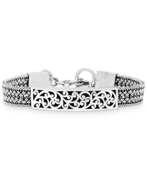 Carved Filigree Bar Woven Bracelet in Sterling Silver