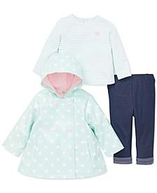 Baby Girls 3-Pc. Hooded Dot-Print Jacket, Striped Top & Pants Set