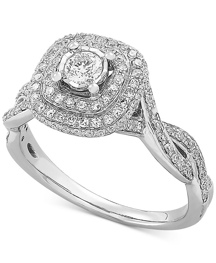Macy's - Diamond Double Halo Twist Engagement Ring (5/8 ct. t.w.) in 14k White Gold
