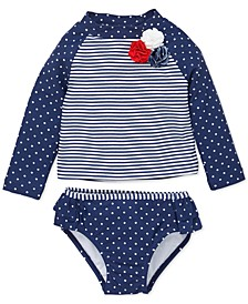 Baby Girls 2-Pc. Dot-Print Striped Rash Guard Swimsuit