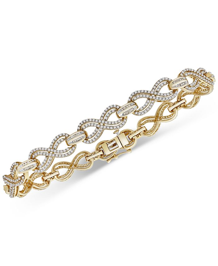 Wrapped in Love - Diamond Infinity Link Bracelet (2 ct. t.w.) in Gold-Plated Sterling Silver