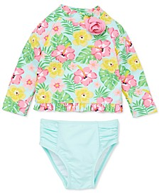 Baby Girls 2-Pc. Tropical-Print Rash Guard Swimsuit