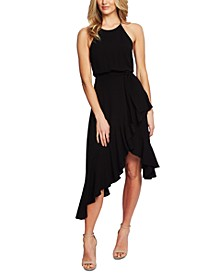 Cascading Ruffle Halter Dress