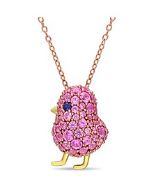 Created Blue and Pink Sapphire (2 3/8 ct. t.w.) Chick Bird Necklace in 18k Two-Tone Over Sterling Silver