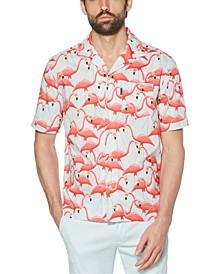 Men's Slim-Fit Flamingo-Print Shirt