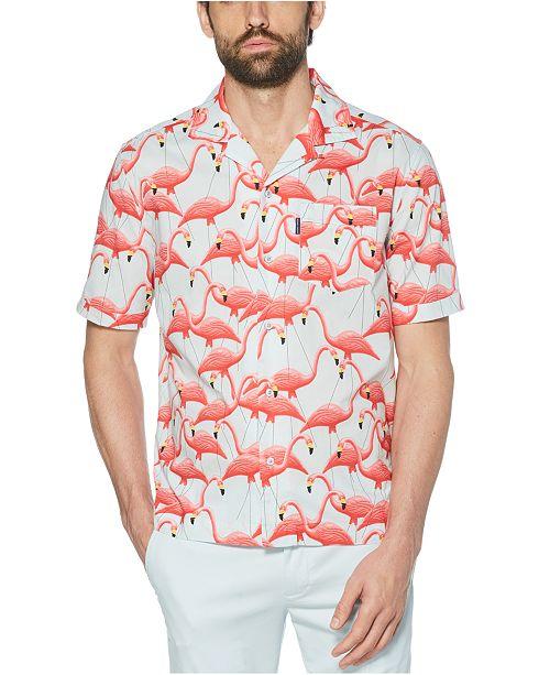 Original Penguin Men's Slim-Fit Flamingo-Print Shirt