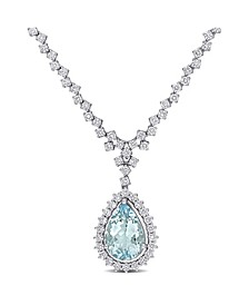 Aquamarine (2 2/3 ct. t.w.) and Diamond (1 1/2 ct. t.w.) Drop Necklace in 14k White Gold