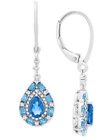 Blue Topaz (1-1/4 ct. t.w.) & White Topaz (1/8 ct. t.w.) Drop Earrings in Sterling Silver