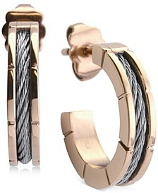 Small Hoop Cable Earrings in Stainless Steel & Rose Gold-Tone PVD, 1""