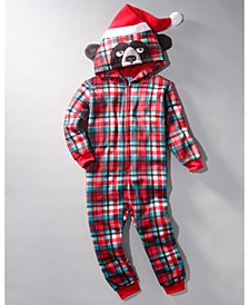 Big Boys 1-Pc. Hooded Plaid Bear Pajamas, Created For Macy's