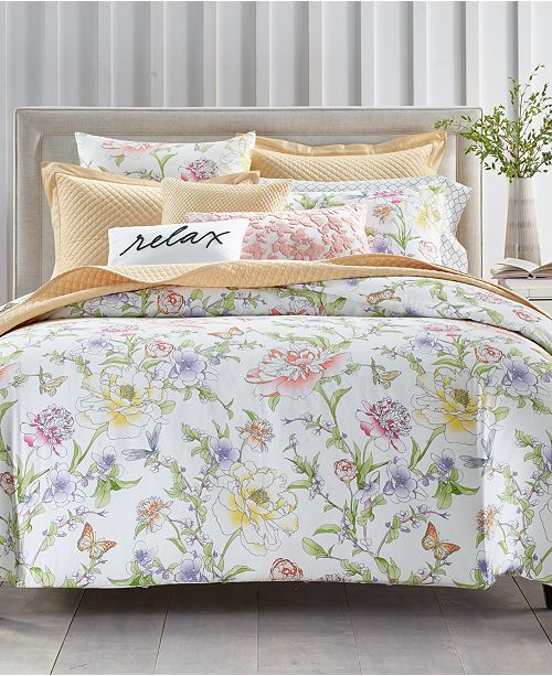 Charter Club Blossom Cotton 300-Thread Count 3-Pc. King Duvet Cover Set, Created For Macy's
