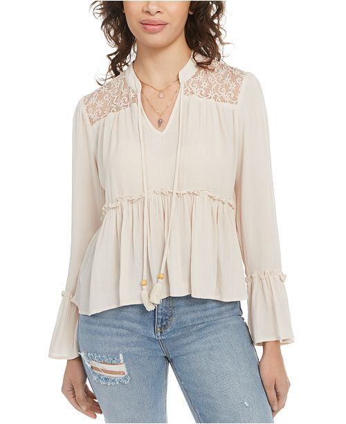 Gypsies & Moondust Juniors' Lace-Shoulder Top