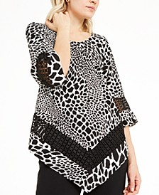 Animal-Print Crochet-Trim V-Hem Top, Created For Macy's