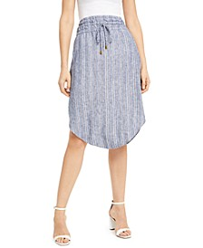 INC Striped Pull-On Linen-Blend Midi Skirt, Created for Macy's