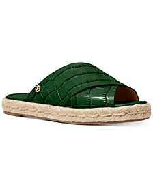 Linden Croc-Embossed Slide Flat Sandals