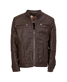 American Culture Men's Vegan Faux Leather Zip Front Moto with Sherpa Body Lining
