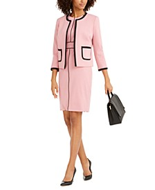 Contrast-Piping Jewel-Neck Jacket & Sheath Dress
