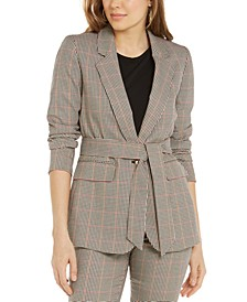 Plaid Tie-Waist Blazer, Created for Macy's