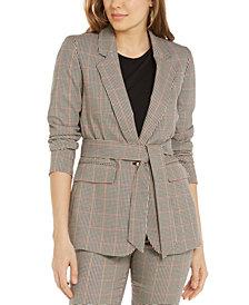Bar III Plaid Tie-Waist Blazer, Created for Macy's