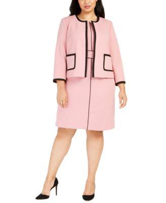 Plus Size Contrast-Piped Jewel-Neck Sheath Dress