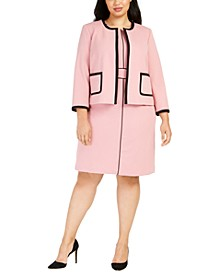 Plus Size Contrast-Piped Jacket & Jewel-Neck Sheath Dress