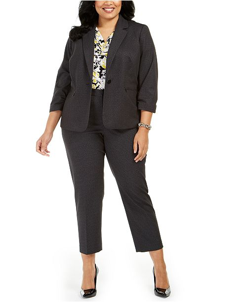 Kasper Plus Size Ruched-Sleeve Blazer, Printed Blouse & Pants