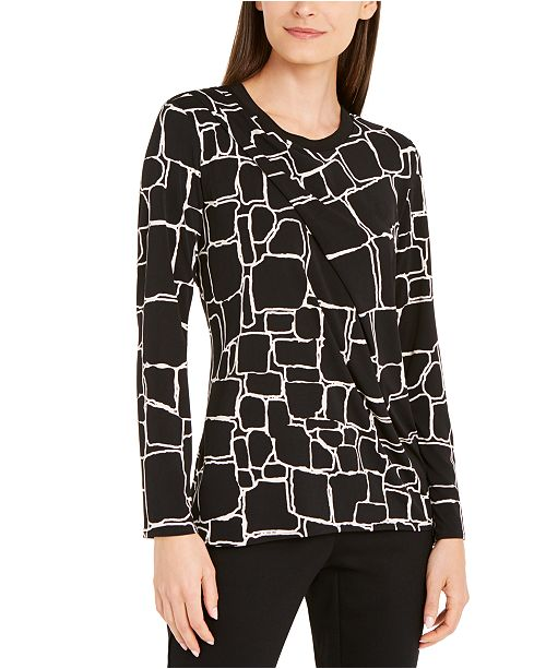 Alfani Printed Pleat-Front Top, Created for Macy's