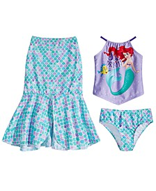 Little Girls 3-Pc. The Little Mermaid Swim Set