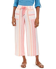 Striped Linen Cropped Pants, Created for Macy's