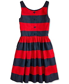 Big Girls Striped Cotton Sateen Dress