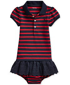 Baby Girls Striped Eyelet Dress & Bloomer