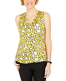 Petite Geometric-Print Sleeveless Top