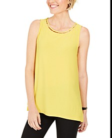 Neckline-Cutout Bead-Trim Top