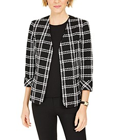 Plaid Open-Front Jacket