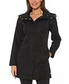 Hooded Snap-Collar Water-Resistant Raincoat