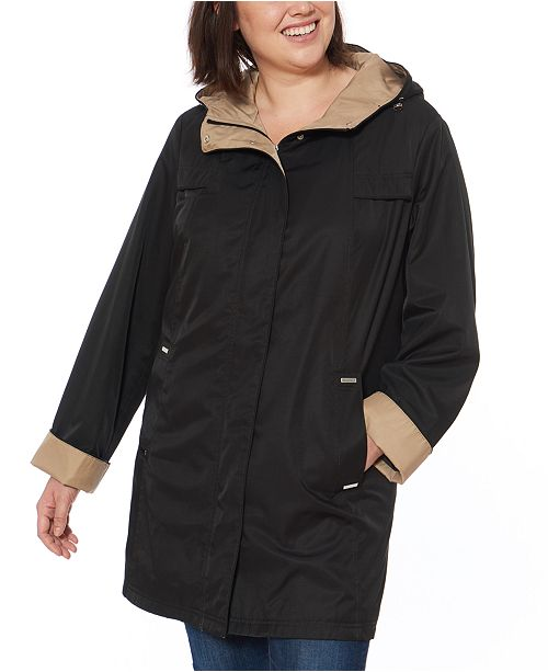 Jones New York Plus Size Hooded Colorblocked  Water-Resistant Raincoat