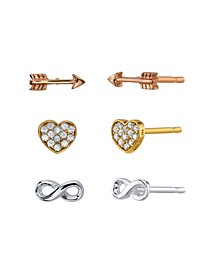 Infinity, Heart, And Arrow Tri-Tone Post Stud Set Earrings