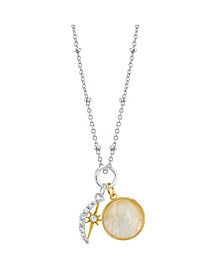 "Cubic Zirconia Moon & Star Pendant Yellow Gold Two Tone Fine Plated Silver Necklace, 16"" + 2"" Extender"