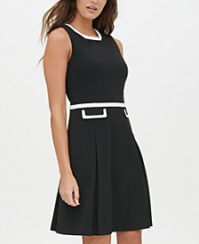 Scuba Crepe Contrast Trim Fit & Flare Dress